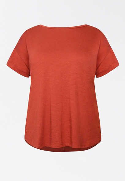 Plus Size 24/7 Solid Drop Shoulder Tee