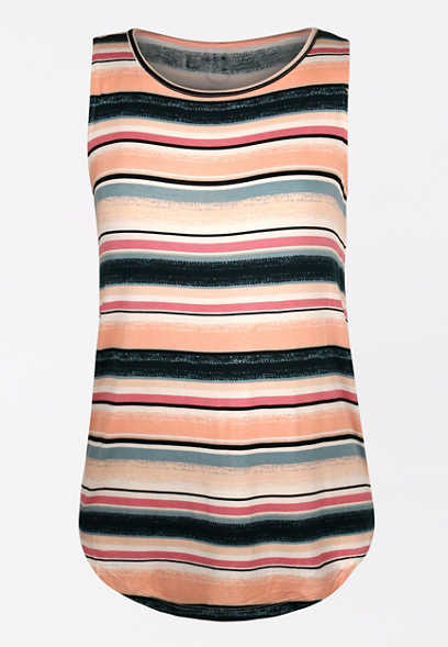 24/7 Multi Stripe High Neck Tank Top