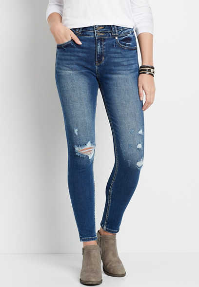 KanCan™ High Rise Curvy Dark Destructed Skinny Jean