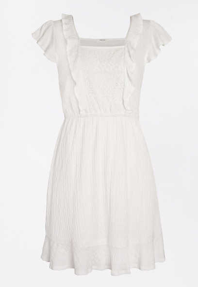 White Lace Front Skater Dress