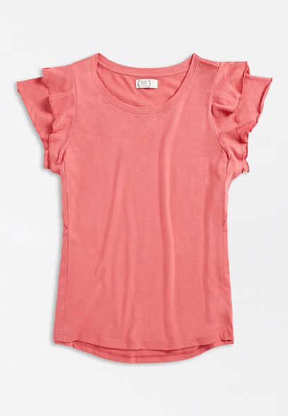 Plus Size 24/7 Solid Ruffle Sleeve Tee
