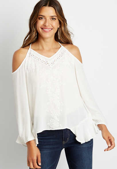 White Cold Shoulder Crochet Trim Blouse