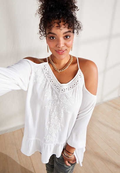 Plus Size White Embroidered Cold Shoulder Top