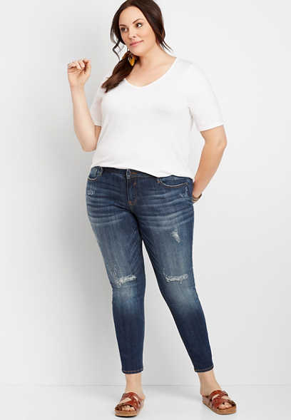Plus Size Vigoss® Jagger Dark Wash Destructed Skinny Jean