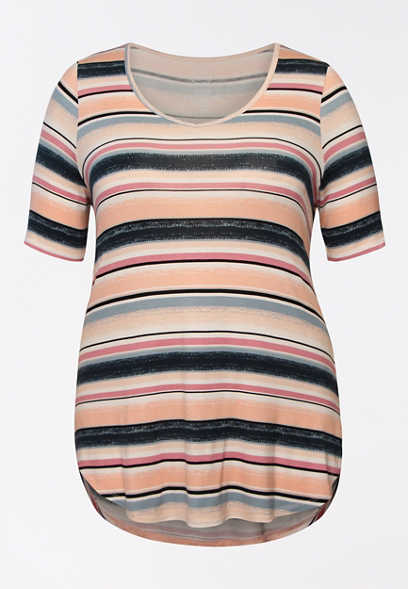 Plus Size 24/7 Flawless Speckled Stripe Tee