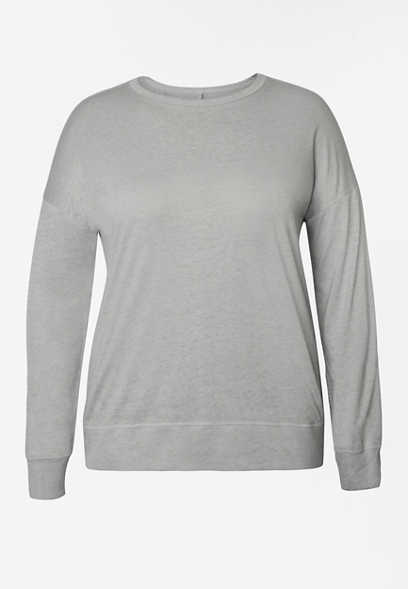 Plus Size Solid Long Sleeve Pullover