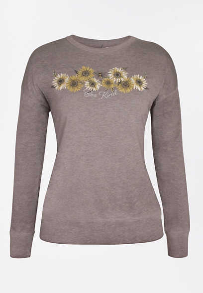 Heather Gray Bee Kind Sunflower Pullover