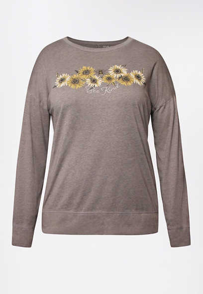 Plus Size Heather Gray Bee Kind Sunflower Pullover