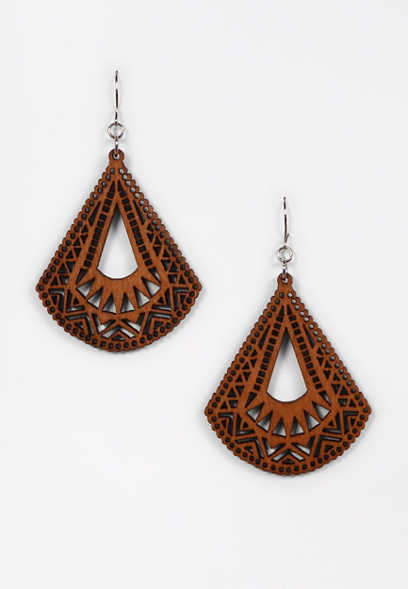 Triangle Wood Cut Out Drop Earrings