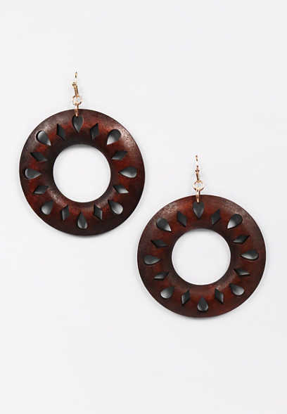 Round Wood Cut Out Drop Hoop Earrings