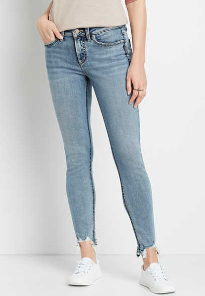 Silver Jeans Co.® Suki Medium Destructed Hem Skinny Jean