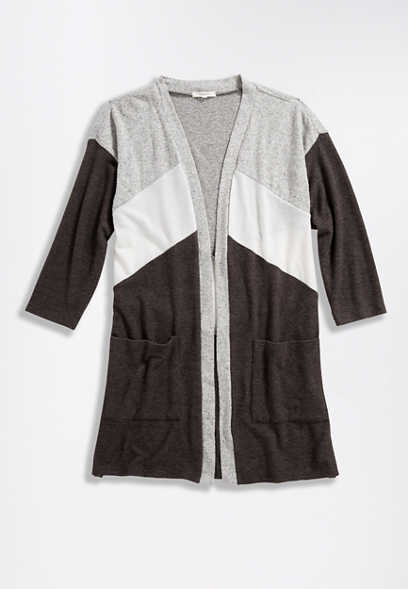 Grey Colorblock 3/4 Sleeve Cardigan Sweater