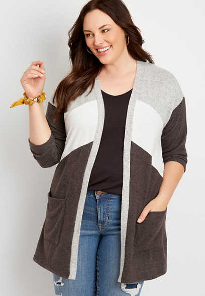 Plus Size Grey Colorblock 3/4 Sleeve Cardigan Sweater