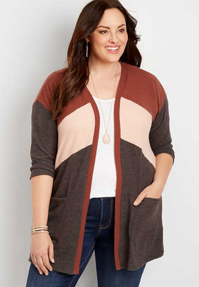 Plus Size Rust Colorblock 3/4 Sleeve Cardigan Sweater