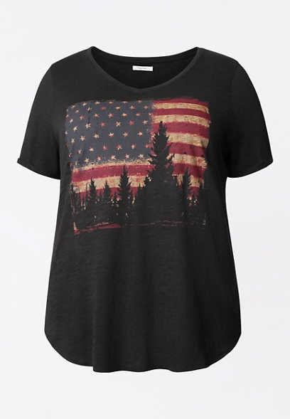 Plus Size Flag V Neck Graphic Tee