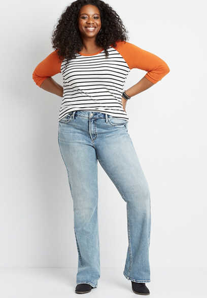 Plus Size Silver Jeans Co.® Avery High Rise Light Marble Wash Slim Boot Jean