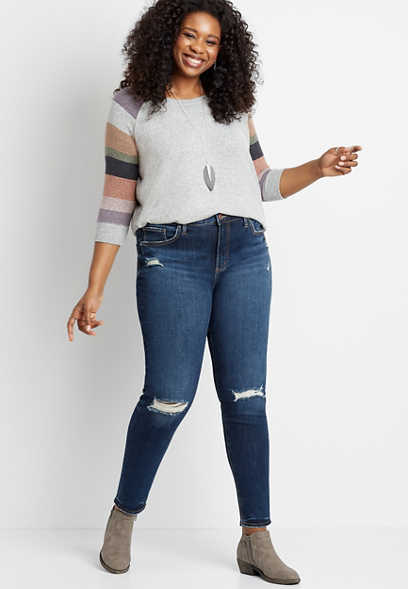 Plus Size Silver Jeans Co.® Avery High Rise Dark Destructed Skinny Jean