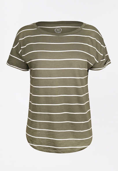 24/7 Olive Stripe Drop Shoulder Tee
