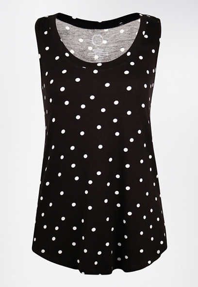 24/7 Polka Dot Scoop Neck Tank Top