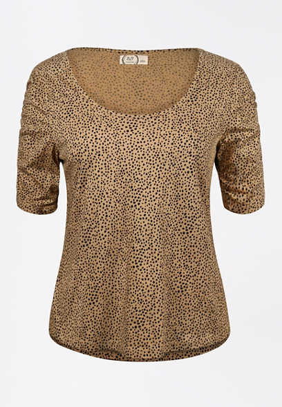 24/7 Animal Print Rouched Sleeve Tee