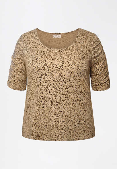 Plus Size 24/7 Animal Print Rouched Sleeve Tee