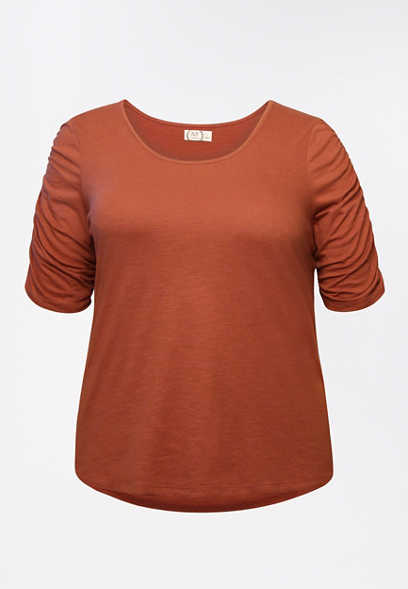 Plus Size 24/7 Solid Rouched Sleeve Tee