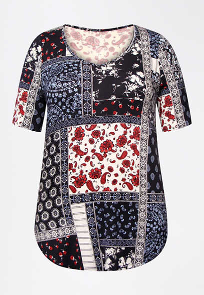 Plus Size 24/7 Flawless Patchwork Floral Tee