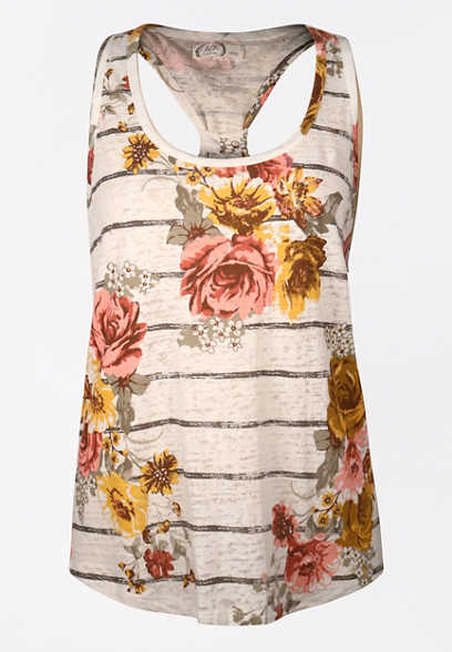 24/7 Floral Stripe Knotted Back Tank Top