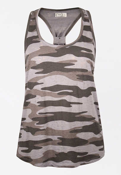 24/7 Gray Camo Knotted Back Tank Top