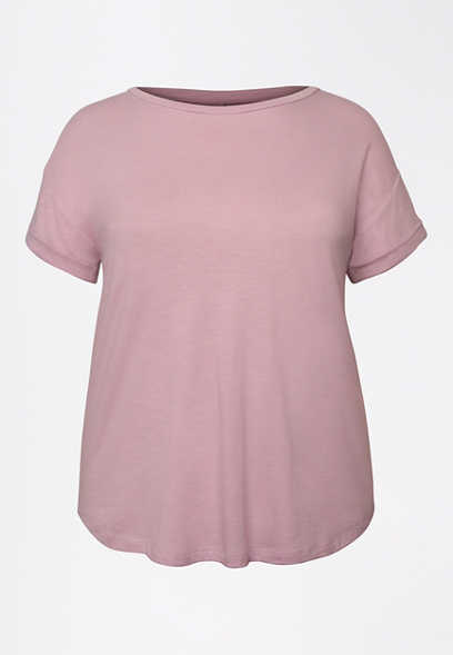 Plus Size 24/7 Lavender Drop Shoulder Tee