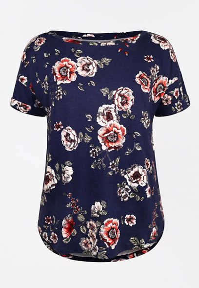 24/7 Blue Floral Drop Shoulder Tee
