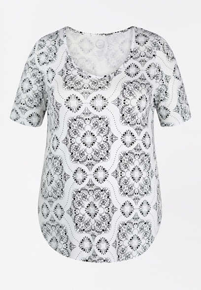 Plus Size 24/7 Flawless Medallion Print Tee