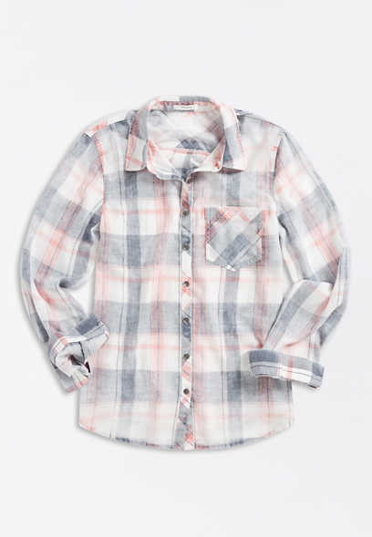 White Plaid Button Down Long Sleeve Shirt