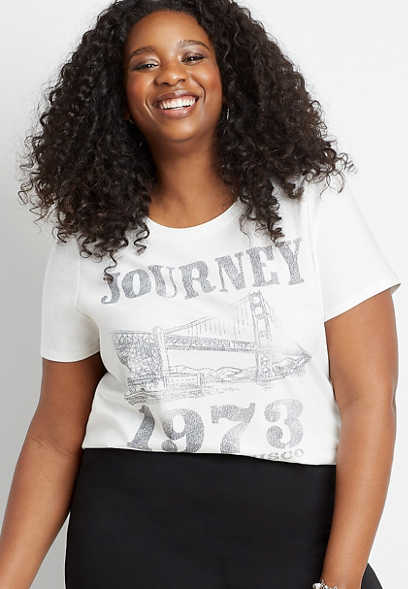 Plus Size White Journey 1973 Graphic Tee