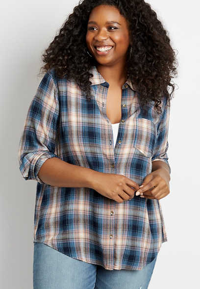 Plus Size Blue Plaid Button Down Long Sleeve Shirt