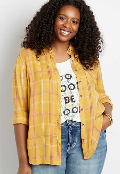 Plus Size Plaid Button Down Long Sleeve Shirt