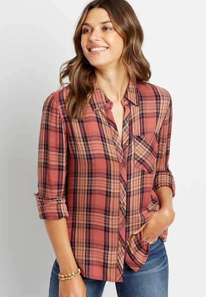 Multi Plaid Button Down Long Sleeve Shirt