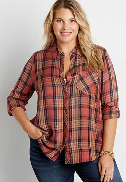 Plus Size Multi Plaid Button Down Long Sleeve Shirt