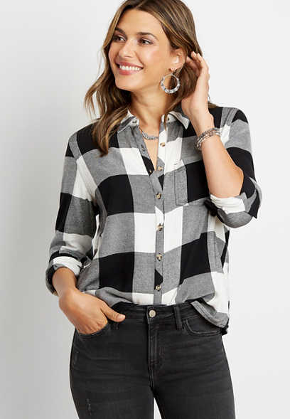 Black Buffalo Plaid Button Down Shirt
