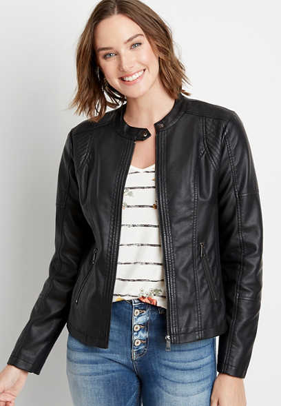 Black Basic Faux Leather Jacket
