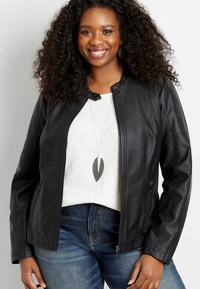 Plus Size Black Basic Faux Leather Jacket
