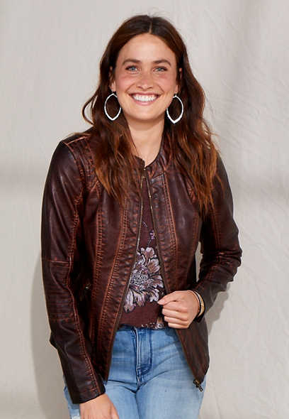 Brown Basic Faux Leather Jacket