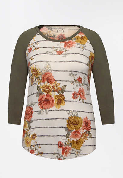 Plus Size 24/7 Olive Floral Stripe Baseball Tee