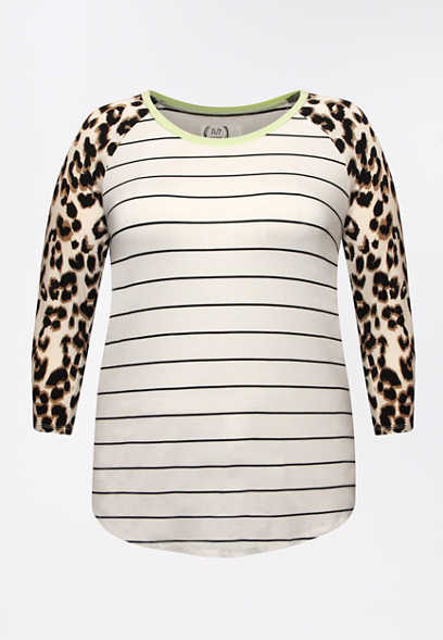 Plus Size 24/7 Leopard Stripe Baseball Tee