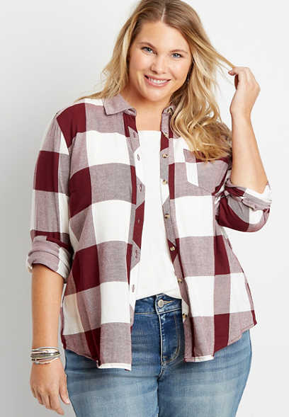 Plus Size Maroon Buffalo Plaid Button Down Shirt