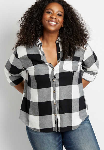 Plus Size Black Buffalo Plaid Button Down Shirt