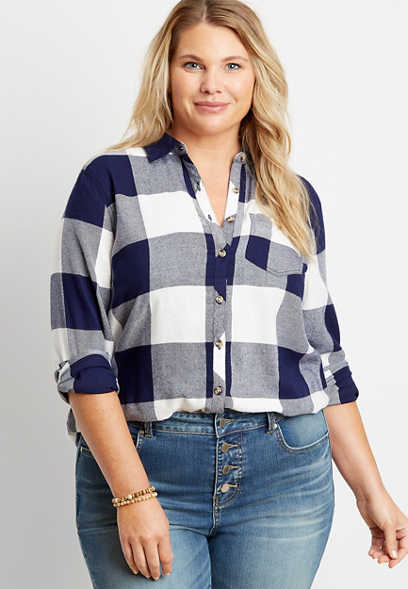 Plus Size Navy Buffalo Plaid Button Down Shirt
