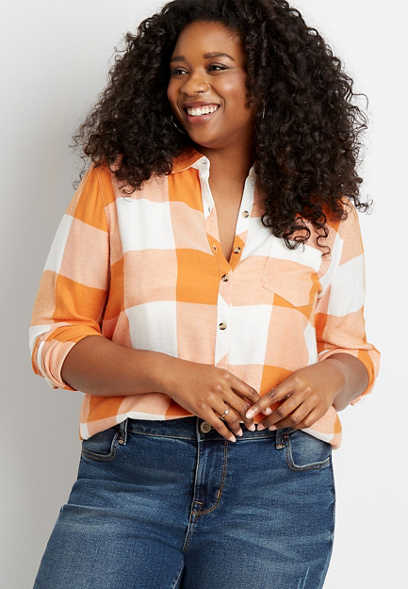 Plus Size Orange Buffalo Plaid Button Down Shirt