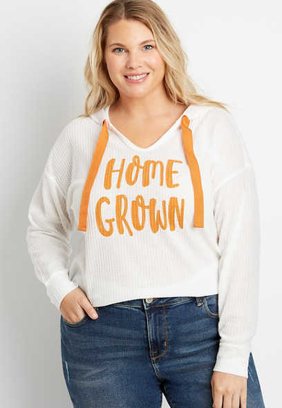 Plus Size Orange Homegrown Waffle Knit Hoodie
