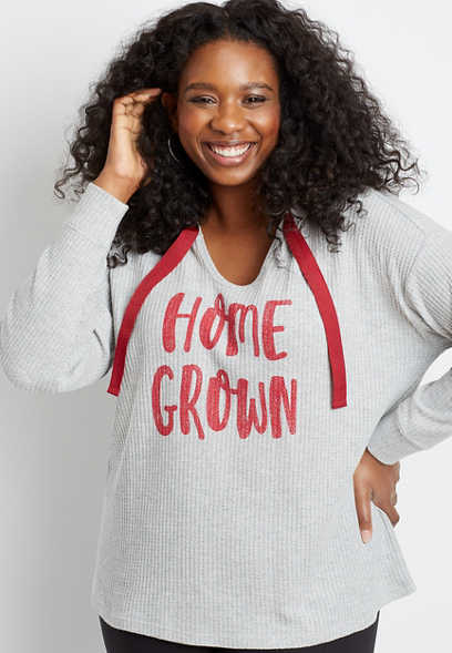 Plus Size Red Homegrown Waffle Knit Hoodie